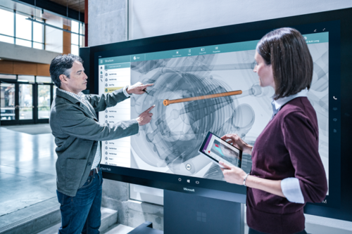 """Microsoft Surface Hub 55"""" Multi-Touch Collaborative Hub with mobile stand"""