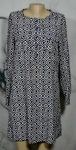 GAP-Navy-Blue-White-Print-Deborah-Dress-Medium-Long-Sleeves-Unlined-Pockets