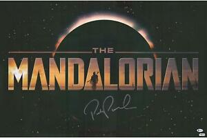 """Pedro Pascal Star Wars The Mandalorian Autographed 22"""" x 34"""" Title Movie Poster"""