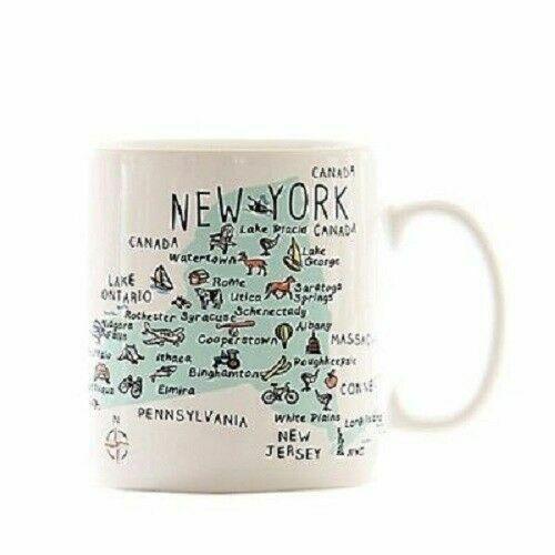 New York State Jumbo Soupe Tasse Thé Café Carte Landmarks GRAND XL ~ PORCELAINE ~ NOUVEAU