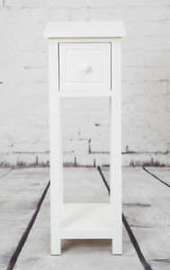 Image Is Loading White Bedside Telephone Table With Drawer Side Living