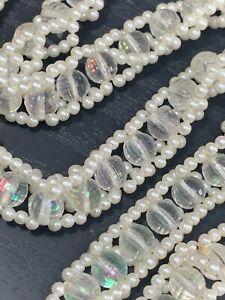Vintage-1950-s-white-Ab-Lucite-woven-imitation-pearl-beaded-long-necklace-tassel