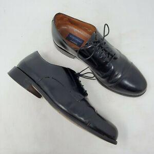 Mens-Bostonian-Black-Leather-Oxfords-sz-10-M-Cap-Toe-Lace-Up-Derby-Dress-Shoes