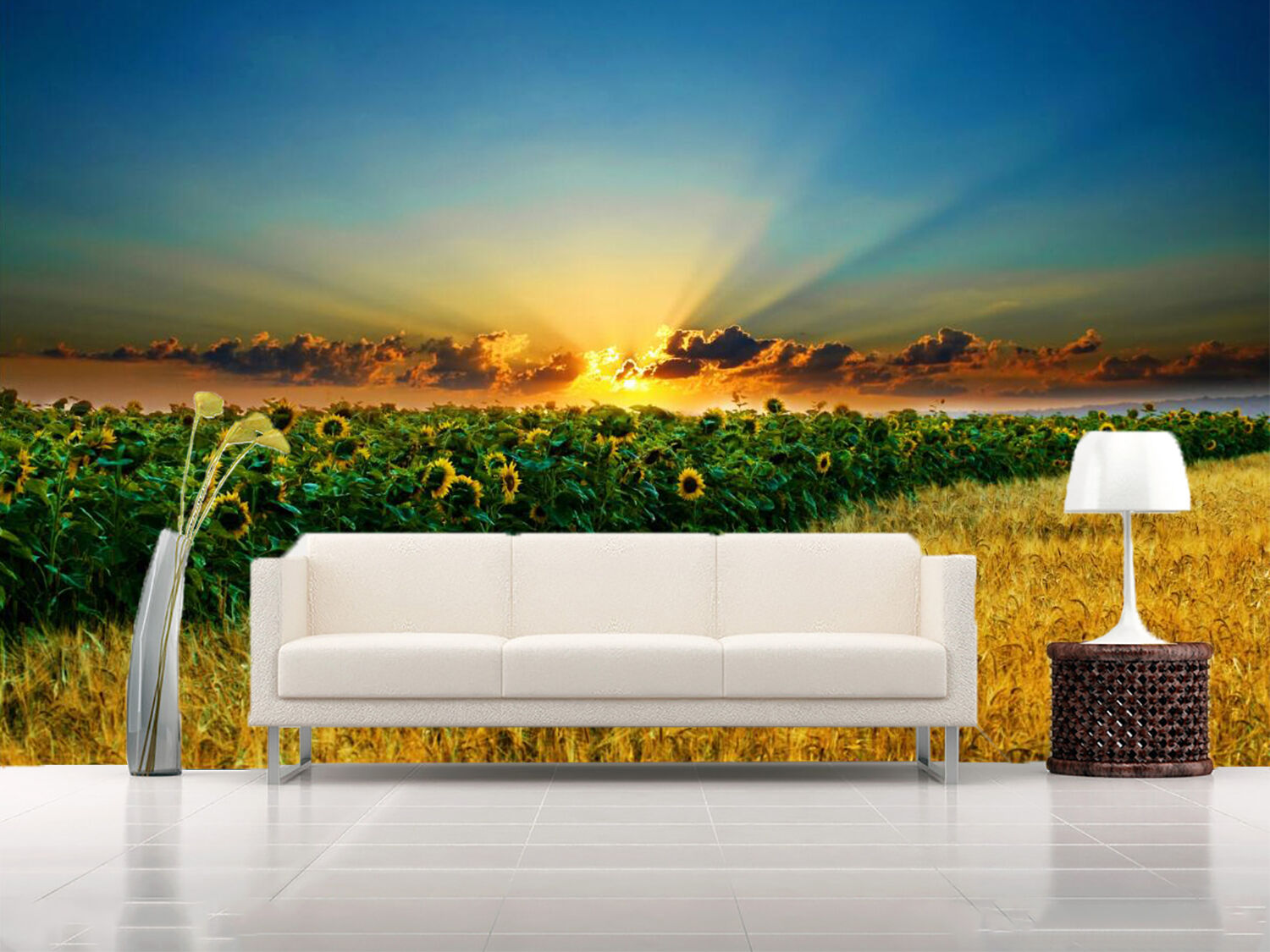 3D Sunlight Sunflower Field 134 Wall Paper Wall Print Decal Wall AJ WALLPAPER CA