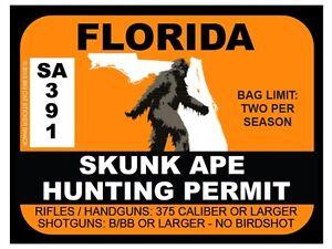 Skunk-Ape-Hunting-Permit-FLORIDA-Bumper-Sticker