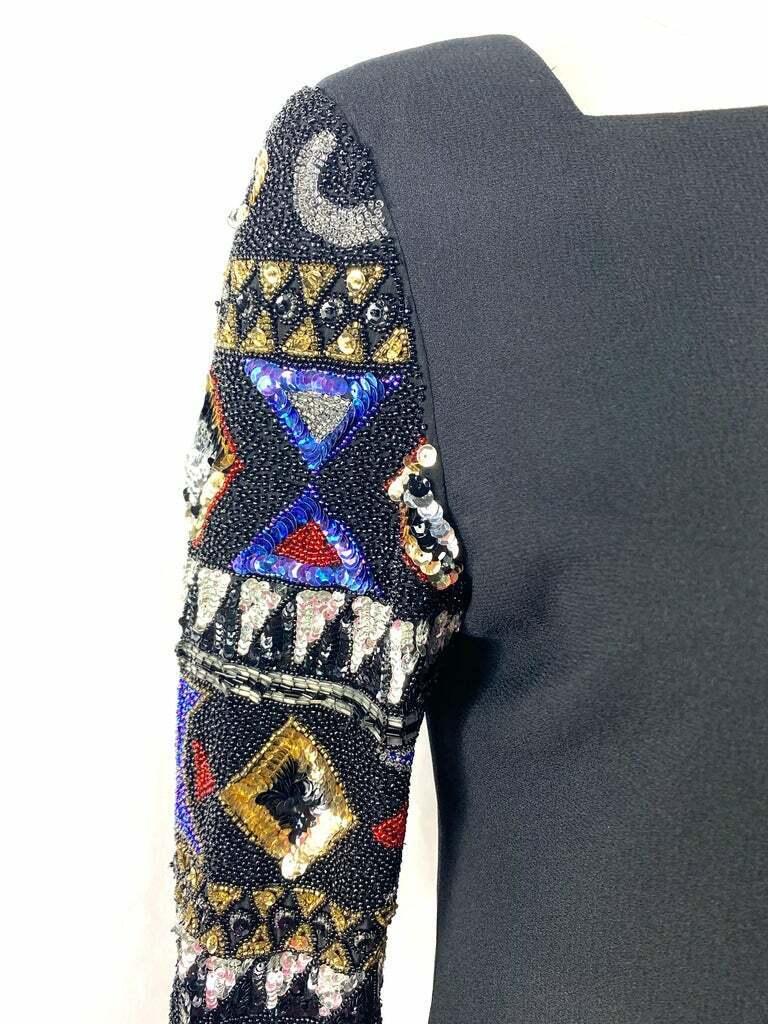 I. Magnin Black Mini Evening Dress - image 2