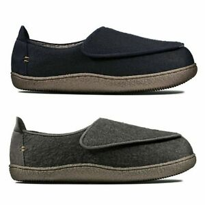 MENS CLARKS WARMLINED SOFT COMFORTABLE WINTER RIPTAPE SLIPPERS RELAXED CHARM