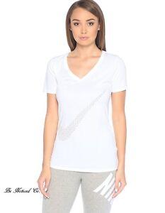 d8284dc2b42f Nike Women s CTN Swoosh V Neck Tee Shirt top S White Black Gym ...