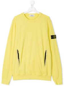Stone Island Junior Sweatshirt In Pollen Yellow Crew Neck Long Sleeves 681660744