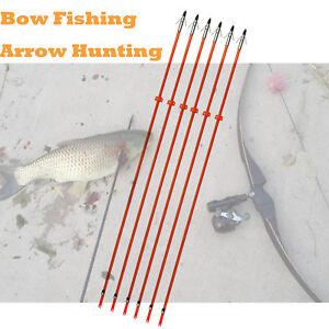 "6X 32/"" Bow Fishing Arrows Fiberglass Shaft Fish broadhead /& Safe Slide Hunting"