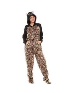 1f62a289e9 Leopard Hooded Footed Pajamas Fleece 1 PC Cats Costume XL or XXL NWT ...