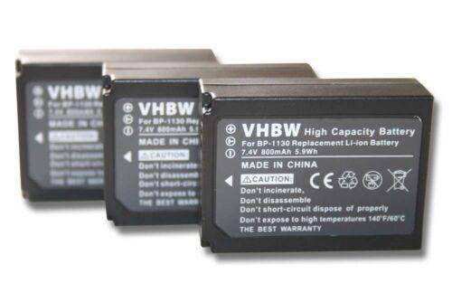 3x Batería 800mAh para Samsung NX300//ED-BP1130//BP1130//BP-1130