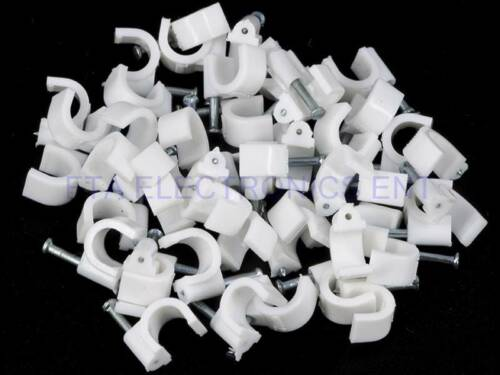 200pcs White Coax Cable Wire Clips Plastic Body Steel Nail RG6 RG59 Installation