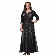 Alex Evenings Women's Plus Size Long Lace Gown with Belt black and nude size 16W