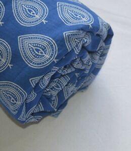 Indian-Hand-Block-Print-Cotton-Natural-Handmade-Leaf-amp-Leaf-Fabric-Blue-3-Yard