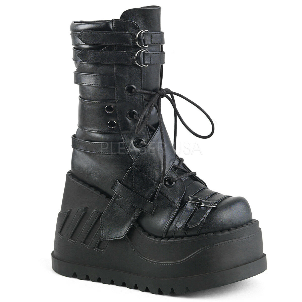 Demonia STOMP-26 Womens Black Vegan Leather Platform Wedge Lace-Up Mid-Calf Boot