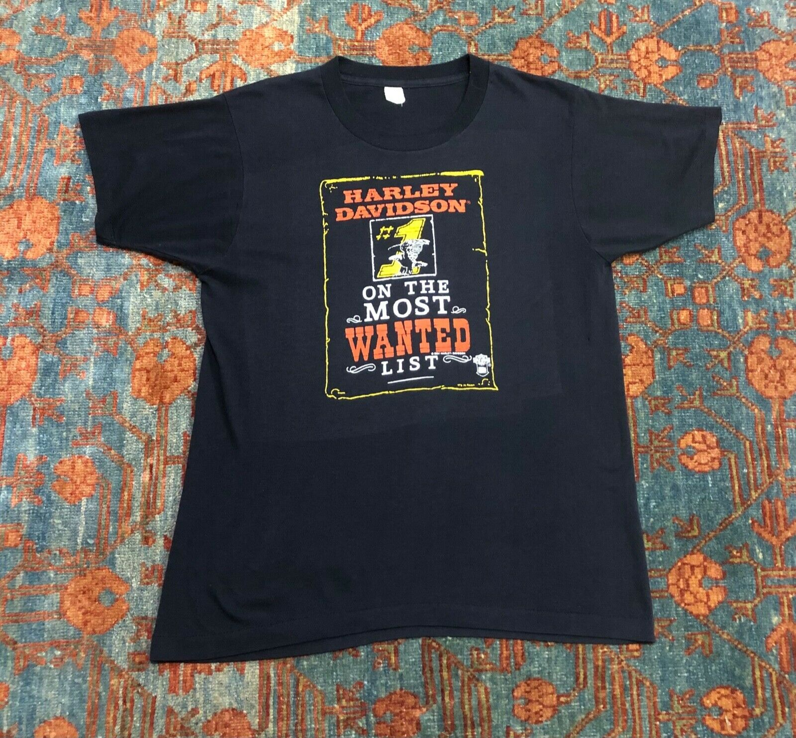 Vintage 1984 Harley Davidson ON THE MOST WANTED LIST T shirt size Large