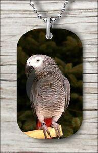 BIRD-AFRICAN-GREY-PARROT-DOG-TAG-NECKLACE-yg63v