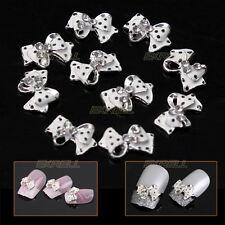 10x Strass Fiocco Pois Nero Bianco 3D Nail Art Decorazione Unghie 12x8mm ex1l