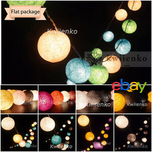 Details About 20 Cotton Ball String Lights Fairy Patio Wedding Living Room Bedroom Hanging