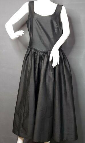 Vintage 90s Laura Ashley Black Silk Shantung Slee… - image 1