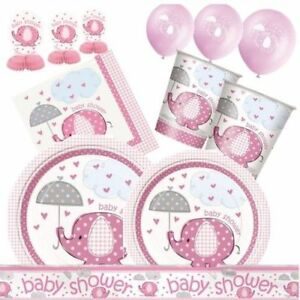 babyparty elefant rosa partydeko geburt m dchen girl deko. Black Bedroom Furniture Sets. Home Design Ideas