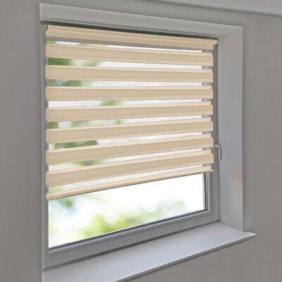 Duorollo Vario Doppel Rollo ohne Bohren Kettenzug Seitenzug Wand Fenster creme