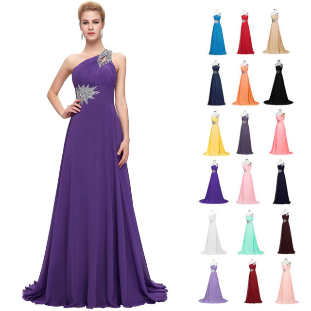 Grace Karin Chiffon Long Maxi Formal Long Evening Party Prom Cocktail Dress BLUE