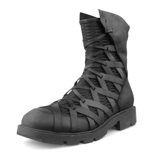 Mens Punk High Top Boots Strappy Net Leather Chunky Heels Outdoor Ankle Boots Sz