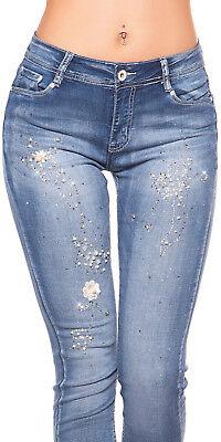 Damen Jeans Hose mit Perlen schwarz von 36-44