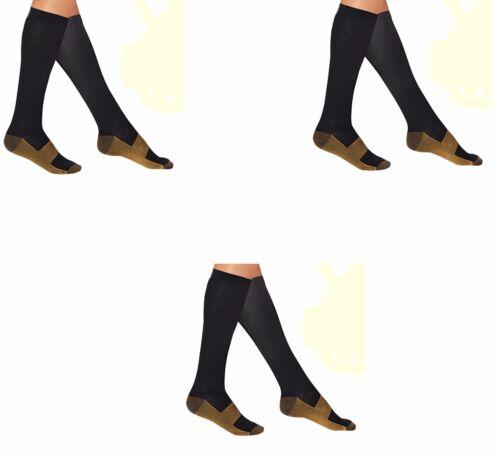 3 Pair Black Copper Compression Support Socks 20-30 mmHg Graduated Men/'s Women/'s