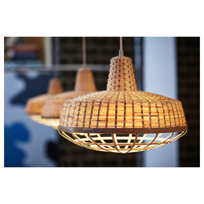"Ikea INDUSTRIELL Pendant Lamp Bamboo 16"" NEW   eBay"