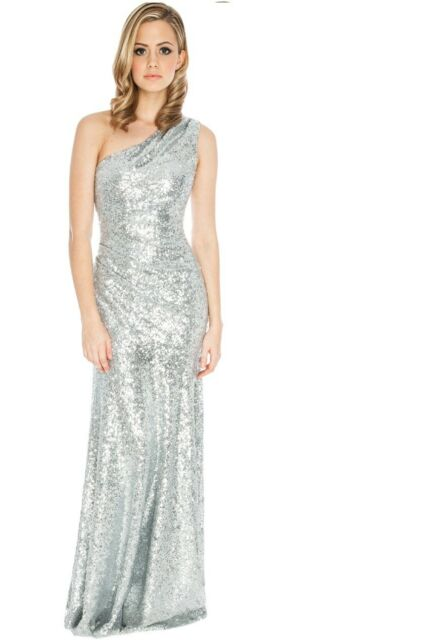 1e573266f1169 Goddiva Long Sequin One Shoulder Evening Maxi Gown Dress Prom Ball Party  8-14