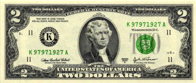Nice 2003-A $2.00 Federal Reserve Notes - Dallas - FR# 1938-K - K-A Block  CH CU