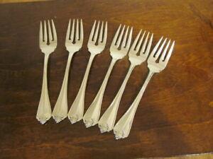 Oneida King James Set 6 Salat Gabeln USA Silverplate Bestecke Lot E