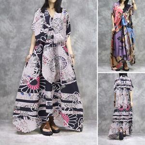 Mode-Femme-Vintage-Loisir-Col-V-Floral-imprime-Manche-courte-Robe-Dresse-Plus