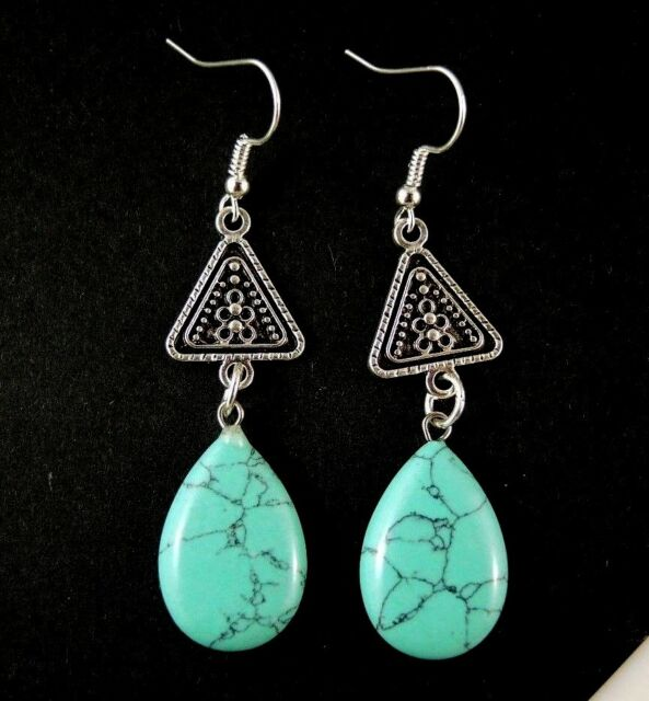 1 Pair of Turquoise Gemstone Tear Drop Dangle Earrings #1547