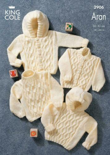 King cole Childrens Aran Knitting Pattern 2906:Sweaters /& Jackets with//out Hoods