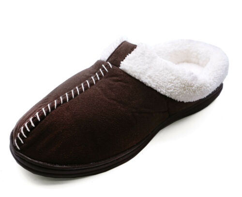 WOMENS BROWN SLIP-ON WARM COSY SLIP-ON MULES INDOOR HOUSE SHOES SLIPPERS 3-6