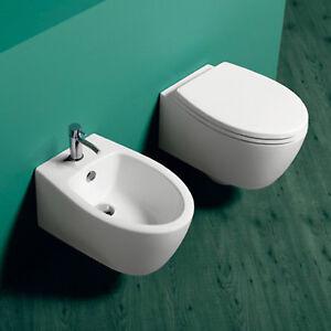 Dettagli su Sanitari sospesi bagno design arredo wc bidet sedile tavoletta  softclose offerta
