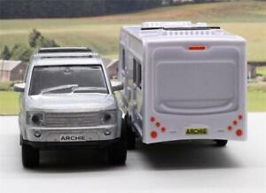 Personalised-Plates-Boys-Kids-Toy-Dad-Model-Diecast-Silver-4x4-Car-amp-Caravan-Box