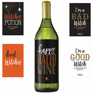 5-HALLOWEEN-WICKED-WINE-BOTTLE-LABELS-WITCHES-PARTY-TABLE-DECORATION-STICKERS