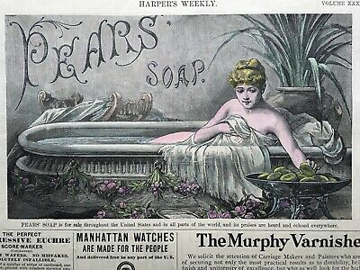 PEARS/' SOAP A LUXURY FOR SHAVING PEARS/' SHAVING SOAP 1886 HARPER/'S WEEKLY AD