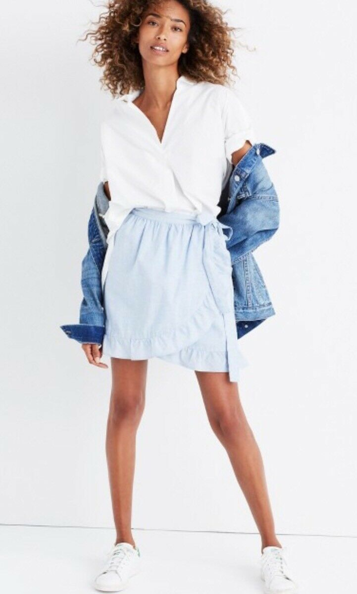 NWT Madewell bluee Meadow Wrap Ruffle Skirt 12