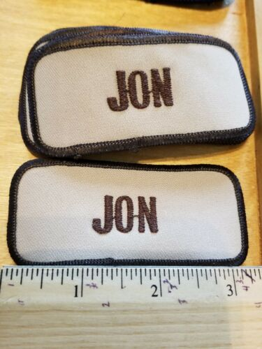 """/""""JON/"""" Brown Rectangle Name Patch Embroidered Used Uniform Shop Name Patch Sew-On"""