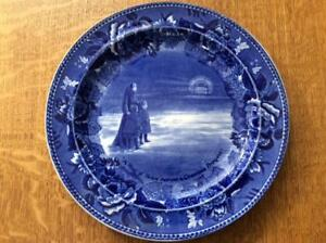 Wedgwood-Grand-Council-of-New-England-Boston-9-1-4-034-blue-historical-plate