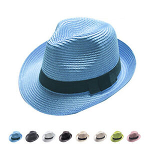 Unisex-Women-Men-Fashion-Summer-Beach-Sun-Topee-Straw-Cap-Fedora-Trilby-Hat