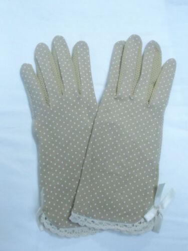 Gants tissu mi saison beige à pois agrippants noeud pinup kawaii harajuku retro