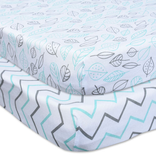 Leaves /& Chevrons Lily/'s Child Set of 2 Fitted Crib Sheets 100/% Cotton