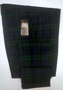 New 'Run & Fly' Men's Mod, 60's,Vintage  Slim Black Watch Tartan Retro Trousers
